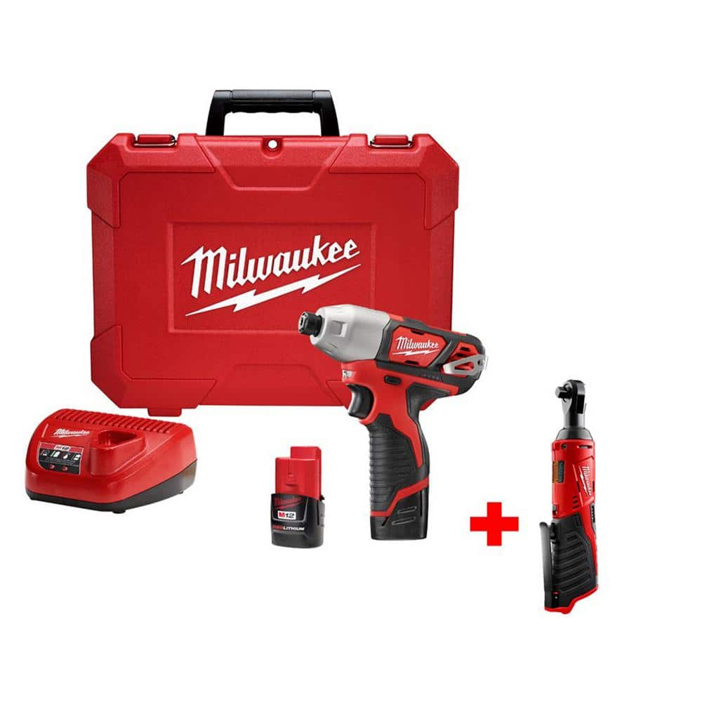 home depot milwaukee m12 1 4 in hex impact driver 3 8 in ratchet with two batteries. Black Bedroom Furniture Sets. Home Design Ideas