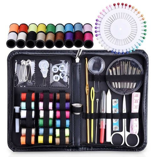 115 Sewing Supplies Mending Kit Accessories with Notions Thread, Scissors & Needle for $8.99