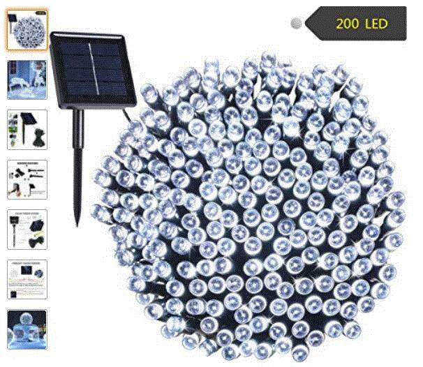 Solar String Lights RockBirds 72ft 22m 200 LED, Outdoor String Lights $5.99