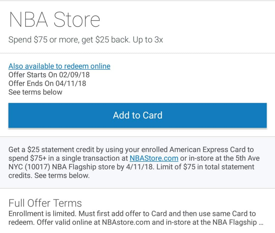 Amex Offer at NBA Store spend $75 get $25 back at NBAstore.com