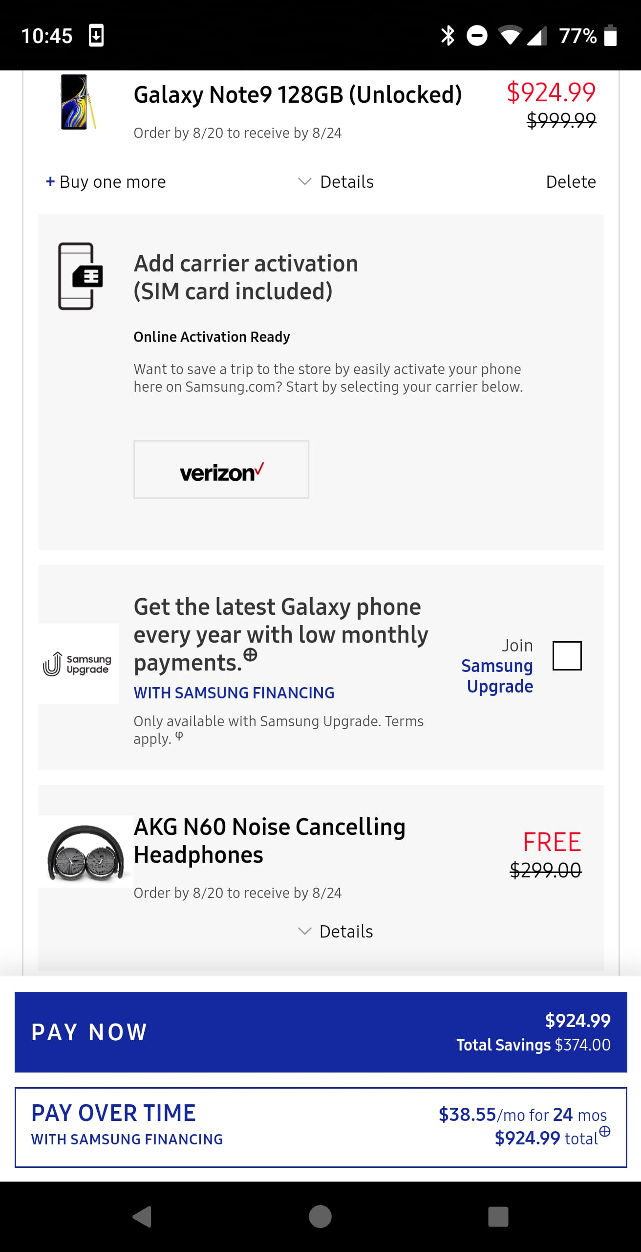 Samsung Note 9 pre order for $924.99 on Samsung.com with an EPP or unidays or edu discount