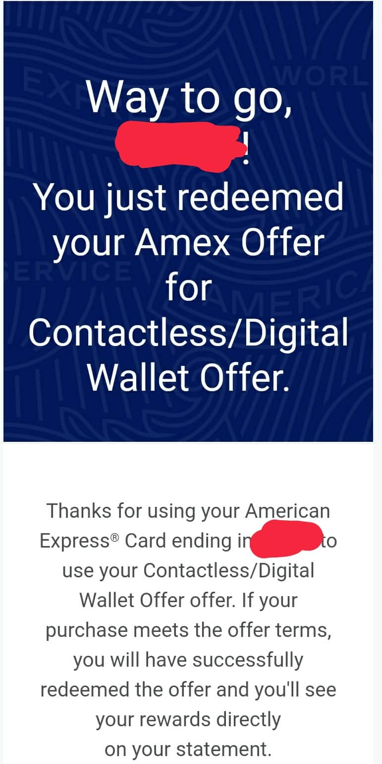 AMEX offer: Tap to pay 5 times, earn $30 back one-time ***found on my Amazon Business American Express Card*** YMMV