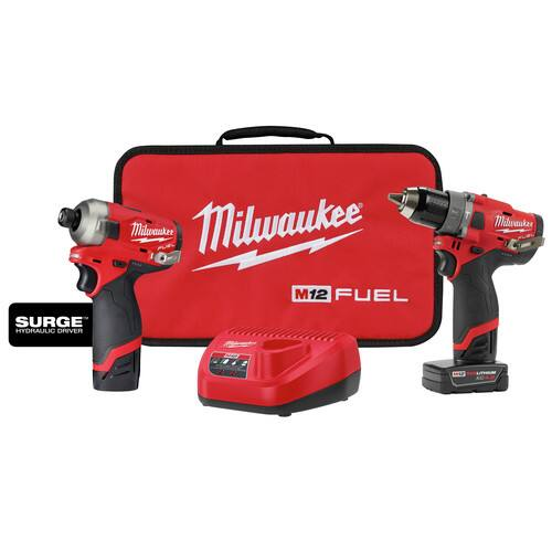 Milwaukee 2582-22 M12 FUEL Hydraulic Driver / Drill Driver Combo Kit $210.4