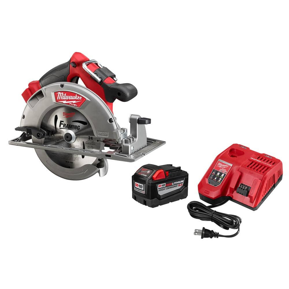 Milwaukee M18 FUEL 18-Volt Lithium-Ion Brushless Cordless 7-1/4 in. Circular Saw Kit w/ (1) 9.0Ah Battery, (1) 24T Blade, Charger $248.98