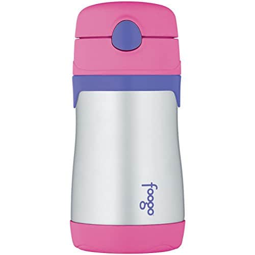 THERMOS FOOGO Vacuum Insulated Stainless Steel 10-Ounce Straw Bottle, Pink/Purple $7.25 @Amazon