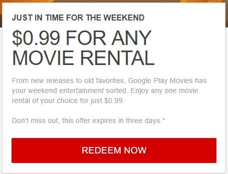 Google Play Movie Rental: Any One Movie Of Your Choice - $0.99 [YMMV - SELECTED GOOGLE ACCOUNTS]