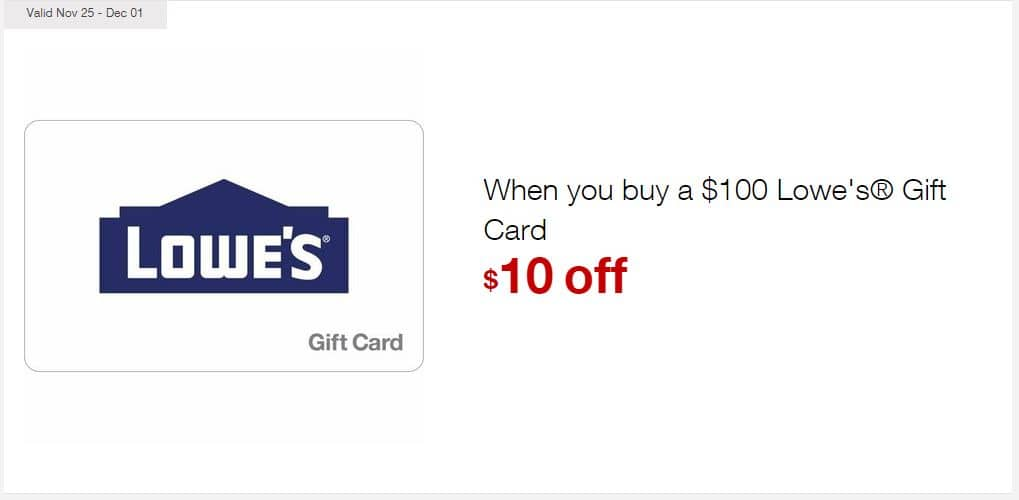 $10 off when you buy a $100 Lowe's® Gift Card at Staples [In-Store] $90