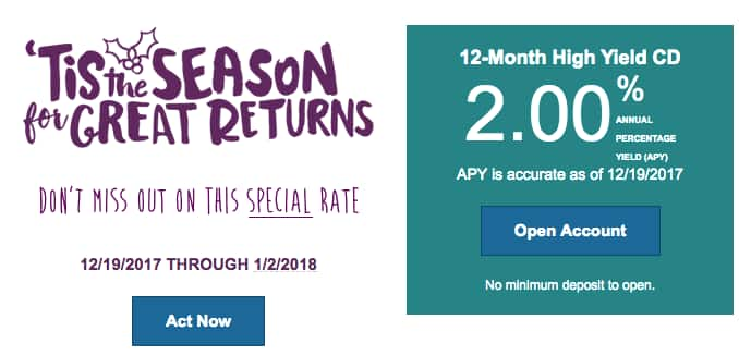 2% APY on 12-month CD from Ally Bank