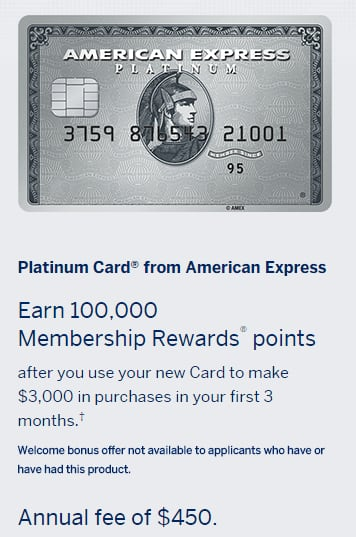 100K AMEX Personal Platinum Membership Rewards after $3K Spend, $450 Annual Fee