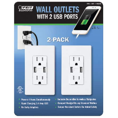 Feit Electric 2 Pack Wall Receptacle With Usb Ports 15 99