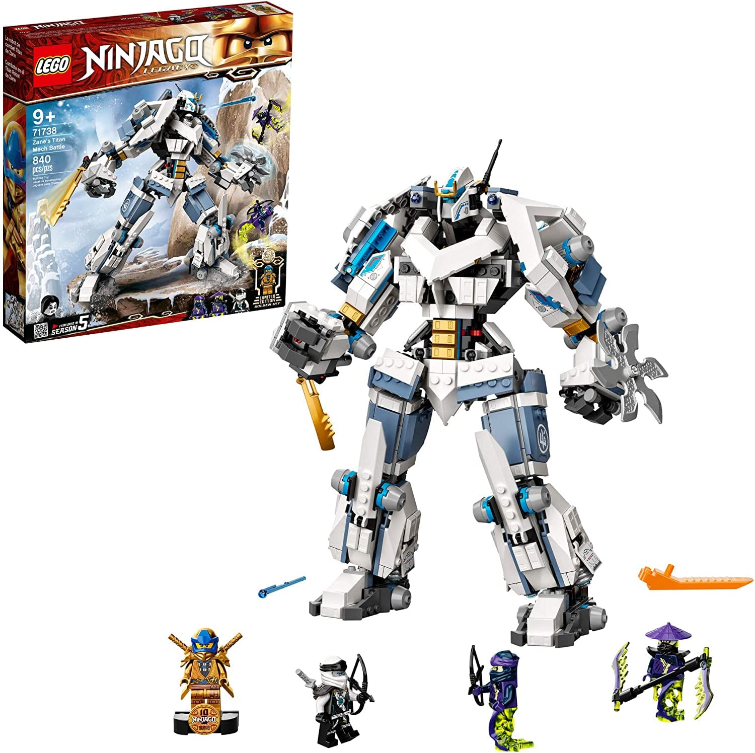 LEGO NINJAGO Zane's Titan Mech 71738 with limited edition Golden Jay 840 pieces for $47.99