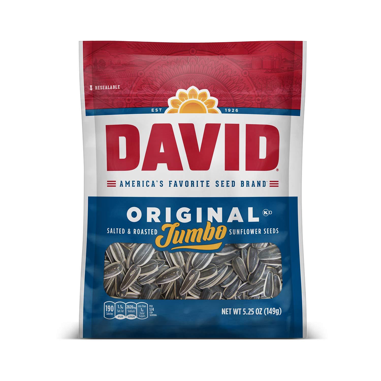 DAVID Roasted Jumbo Sunflower Seeds 5.25oz x 12- $7.3 Amazon FSSS