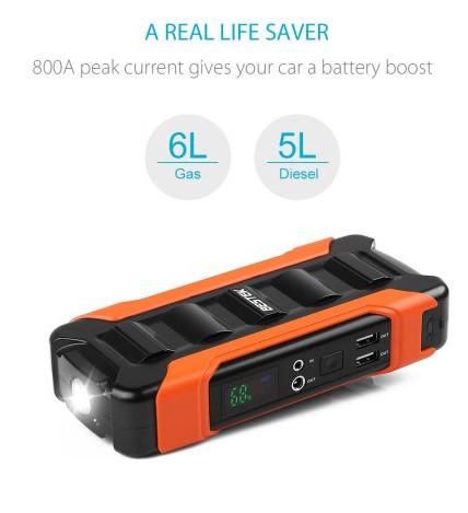 800A Peak 18000Ah Portable Car Jump Starter( Up to 6.0L Gas, 5.0L Diesel Emgine) $48.99