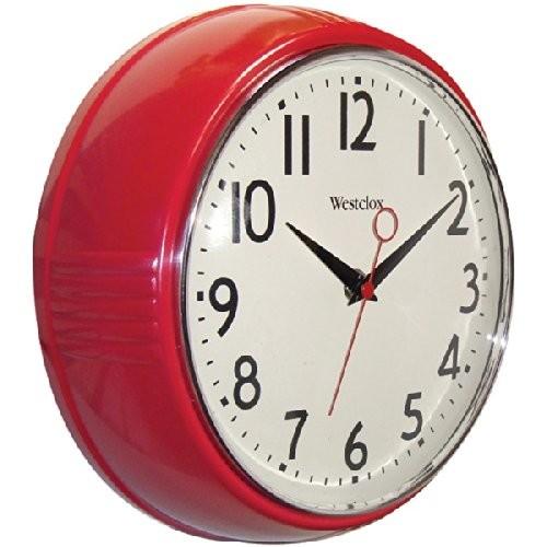 Westclox 32042R Retro 1950 Kitchen Wall Clock, 9.5-Inch, Red $7.69