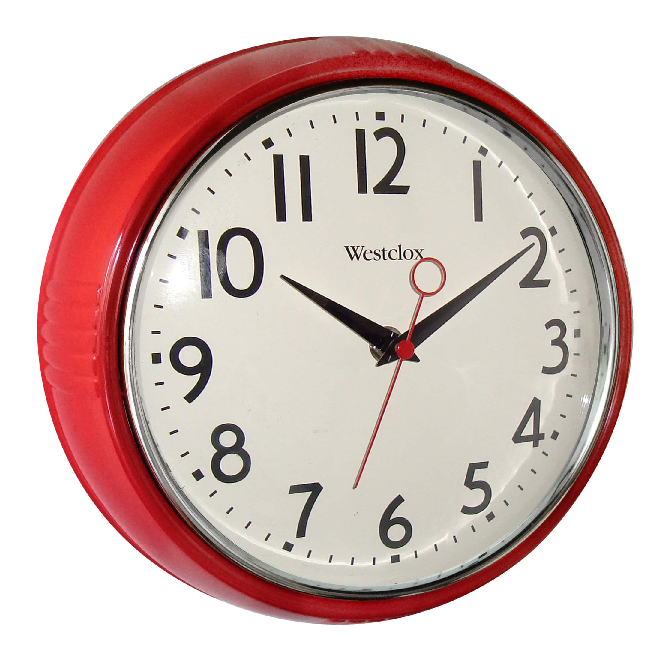 "Westclox 9.5"" Retro 1950 Kitchen Wall Clock (Red"
