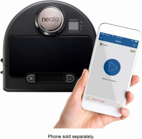 Neato Robotics - Botvac Connected App-Controlled Self-Charging Robot Vacuum - Black $399.99