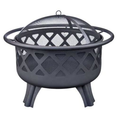 Hampton Bay Crossfire 29.50 in. Steel Fire Pit with Cooking Grate $49.00 + fs