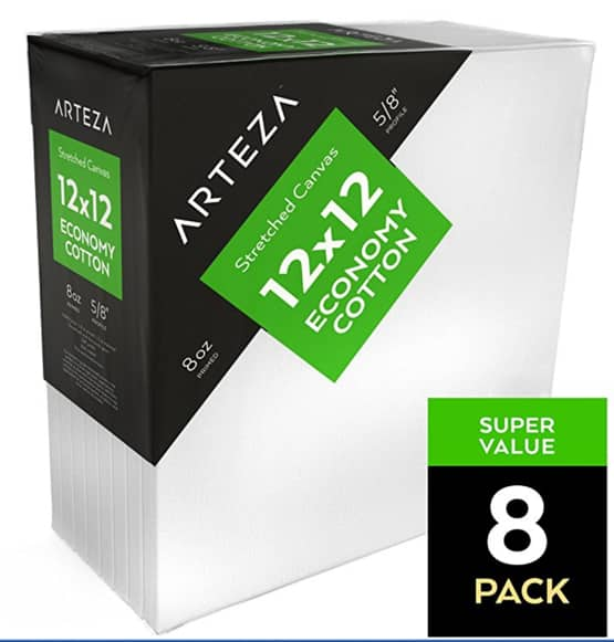 Arteza 12x12 Stretched Canvas, 100%-Cotton (Pack of 8) $13.98