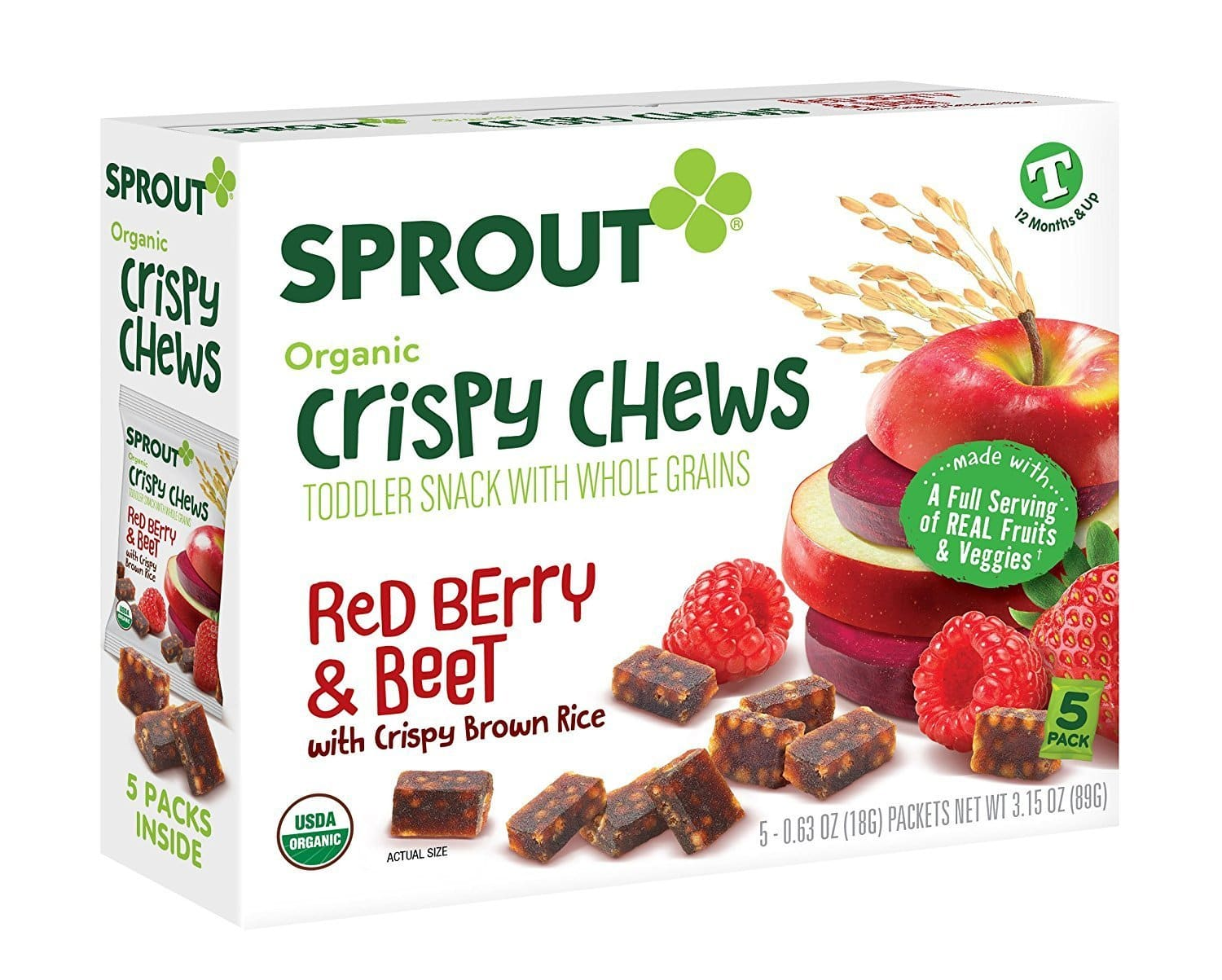 Sprout Crispy Chews Organic Toddler Snacks, Red Berry & Beet, Case of 50 Crispy Chews (10 boxes, 5 packets per box) -- 35% off and then 20% off with SnS $12.72