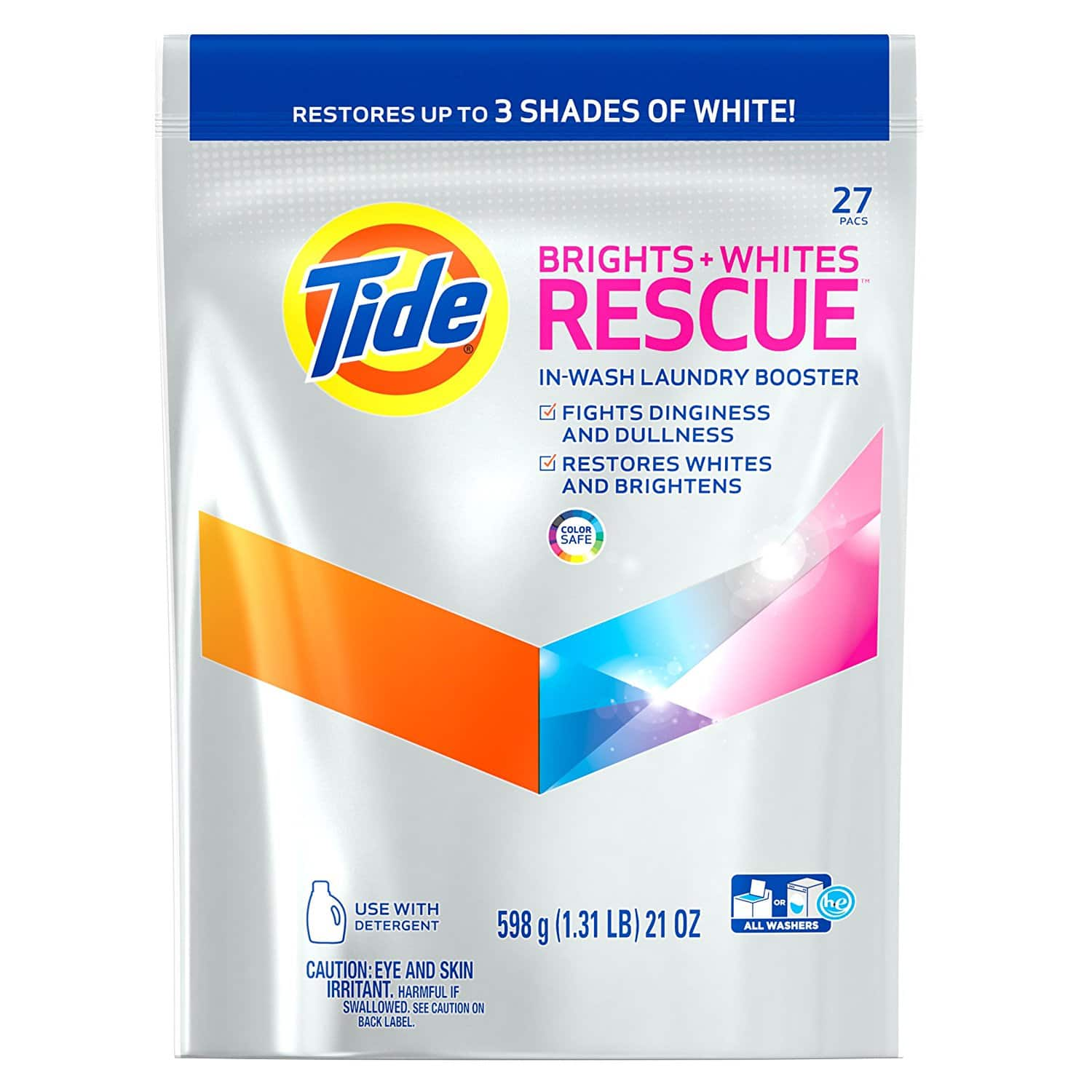 Tide Brights and Whites Rescue Laundry Pacs In-Wash Detergent Booster, 27 Count - $3.75 Coupon on First Subscription & 15% SnS (w/ 5+ SnS) $5.08