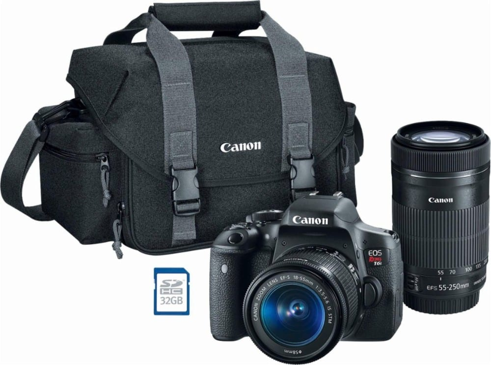 Canon - EOS Rebel T6i DSLR Camera with 18-55mm and 55-250mm Lenses - Black $750