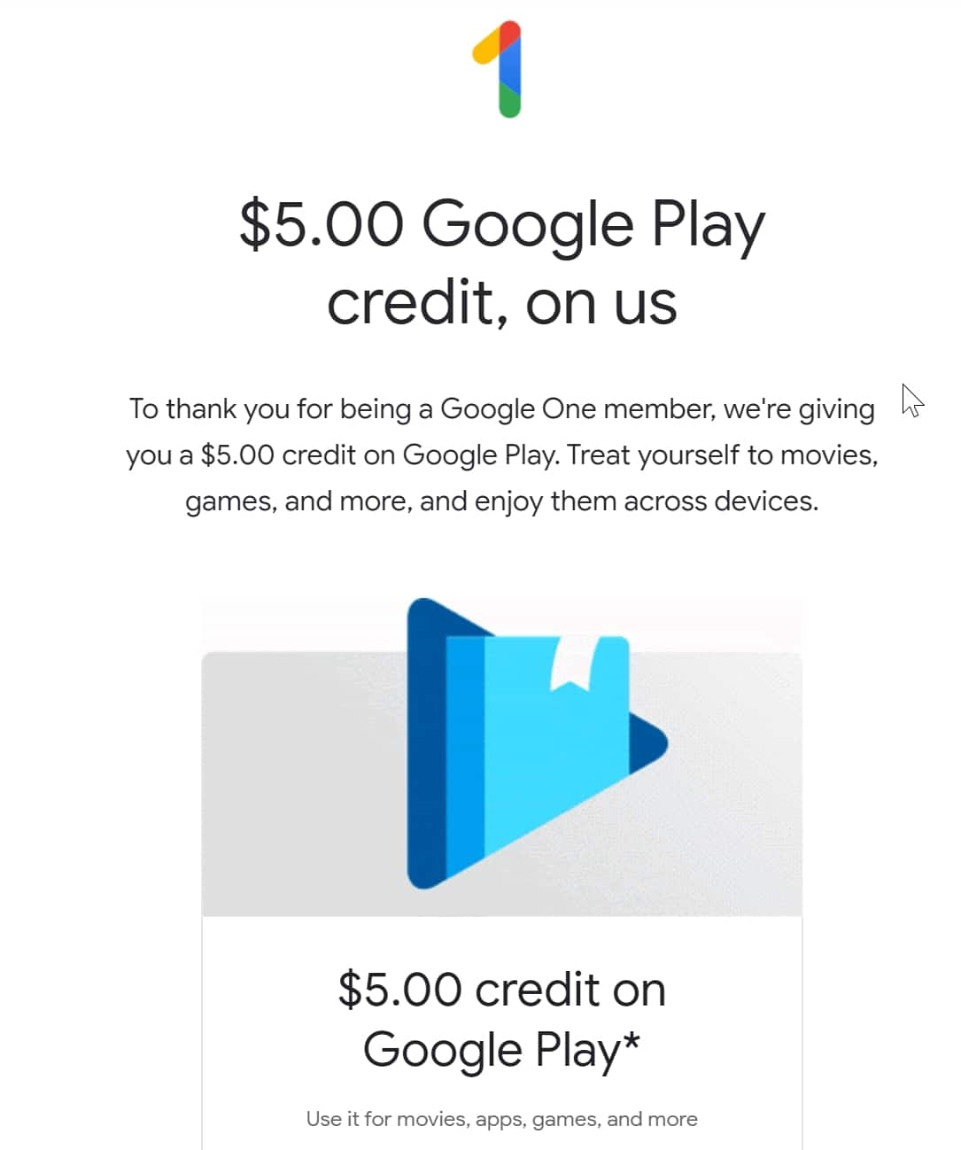 $5 Free Google Play Credit for Google One customer