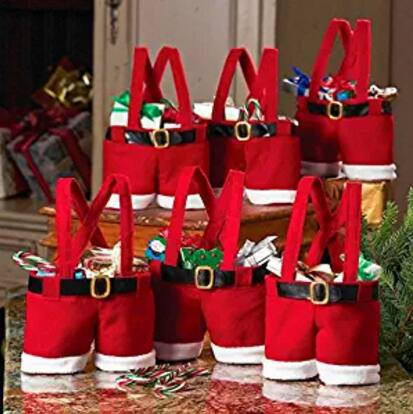 6 Pack Handle Portable Christmas Candy Bag Santa Pants Gift and Treat Bags $5.60