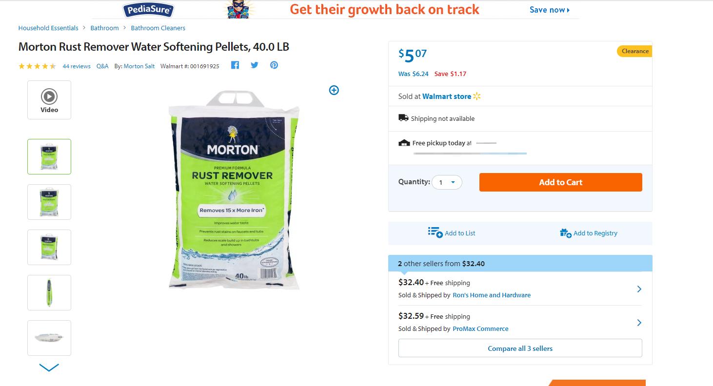 Morton Water Softener Salt 1470 40Lb Rust Remover Pellet on