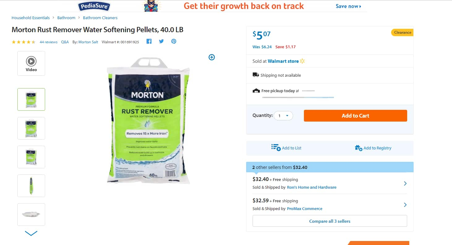 Morton Water Softener Salt 1470 40Lb Rust Remover Pellet on sale for $4.83 at Walmart.com
