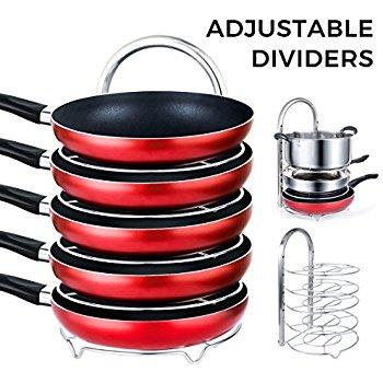 5-Tier Height Adjustable Pot & Pan Rack $16.99 AC @Amazon