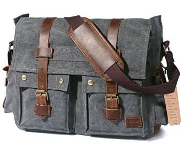 """Men's Vintage Canvas Messenger Bag 15.6""""-17.3""""  $32.79 @Amazon AC with FS"""