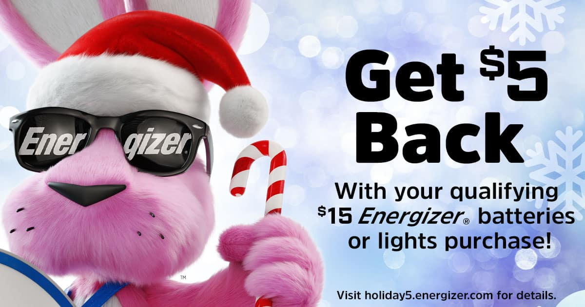 $5 Rebate with $15 Energizer batteries or lights purchase
