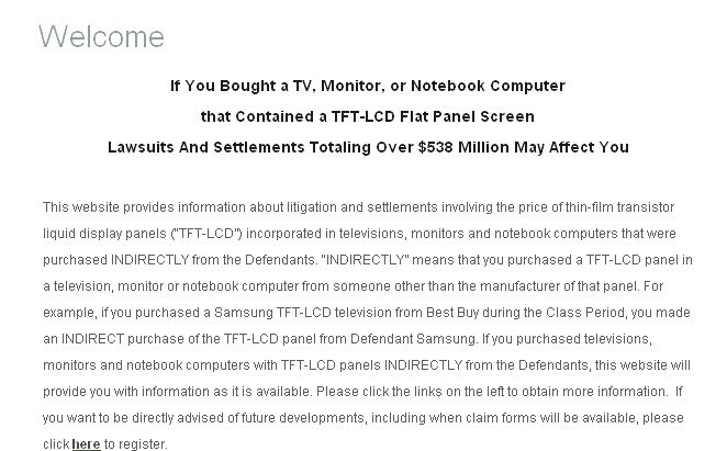 LCD Panel Class Action Price Fixing Lawsuit Settlement (1999 to 2006)