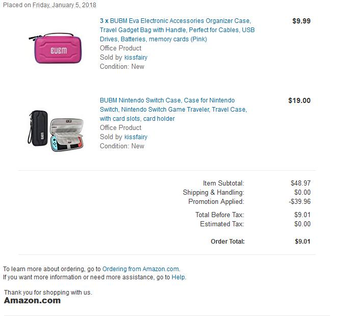 Bubm Switch case + 3 free pink Bubm accessories cases $9 $9.01