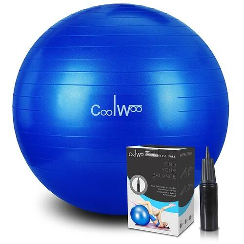 Exercise Ball, Yoga Ball, Anti Burst for Pilates, Balance, Fitness & Stability with Manual Pump Blue for $11.99