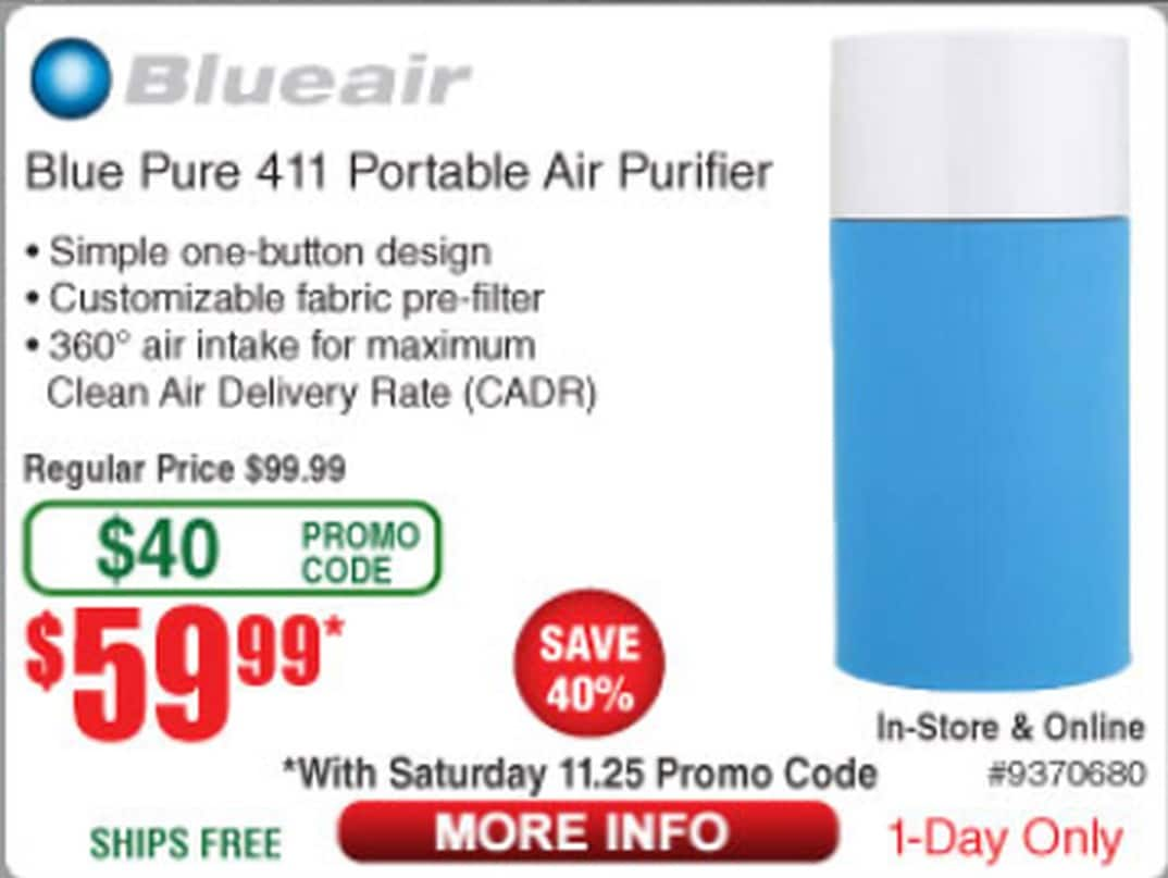 Blueair Blue Pure 411 Portable Air Purifier - $59.99 @ Frys