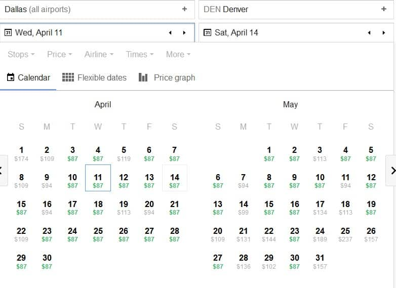 DFW to DEN RT March-May bookings via Frontier Airines $87
