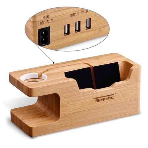 Bamboo Apple Watch Charging Stand with 3 USB Ports 3.0 for Smartphone / iPhone for $15.48 + FS (with Prime)