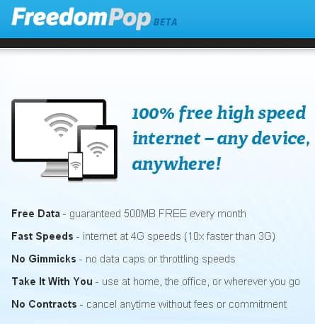 FreedomPop FREE 4G Mobile Internet 500MB per month with $49.99 deposit
