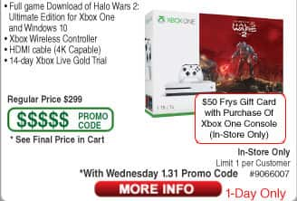 Xbox One S 1TB Console Halo Wars 2 Bundle at Fry's (B&M only!) for $249 After Coupon Code PLUS $50 Fry's Gift Card