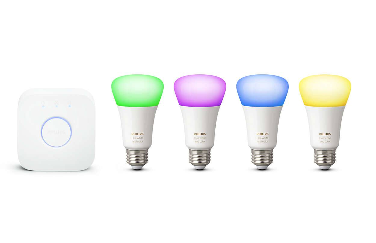 Philips - Hue White and Color Ambiance A19 LED Starter Kit + 2 Google Home Minis $176 at Best Buy