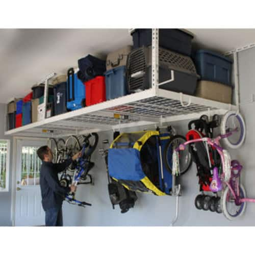 SafeRacks 4 ft. x 8 ft. Overhead Garage Storage Rack and Accessories kit $139.99