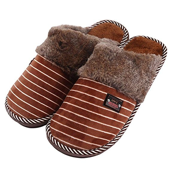 50% off Men's Classic Plush House Slippers, Winter Breathable Indoor/Outdoor Shoes with coupon