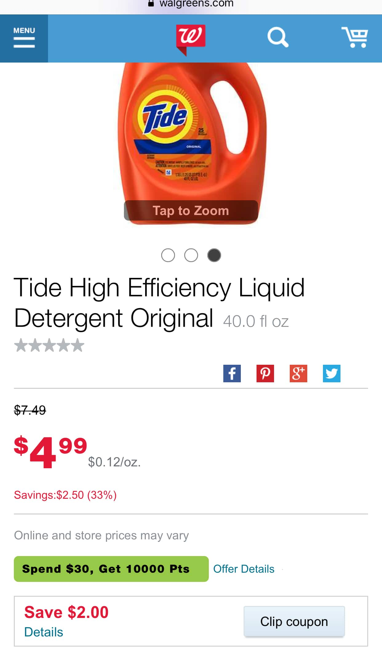 Tide 37-Oz. And 40-Oz. Detergent For $2.99 at Walgreen