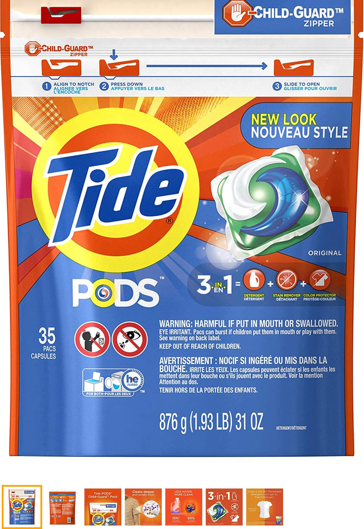 Tide Pods Laundry Detergent Pacs, Original, 35 Count for $6.99 AC - add-on Item