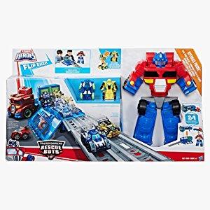 Playskool Heroes Transformers RBT Optimus Prime Flip Racers Race Track Trailer Playset - $18.48