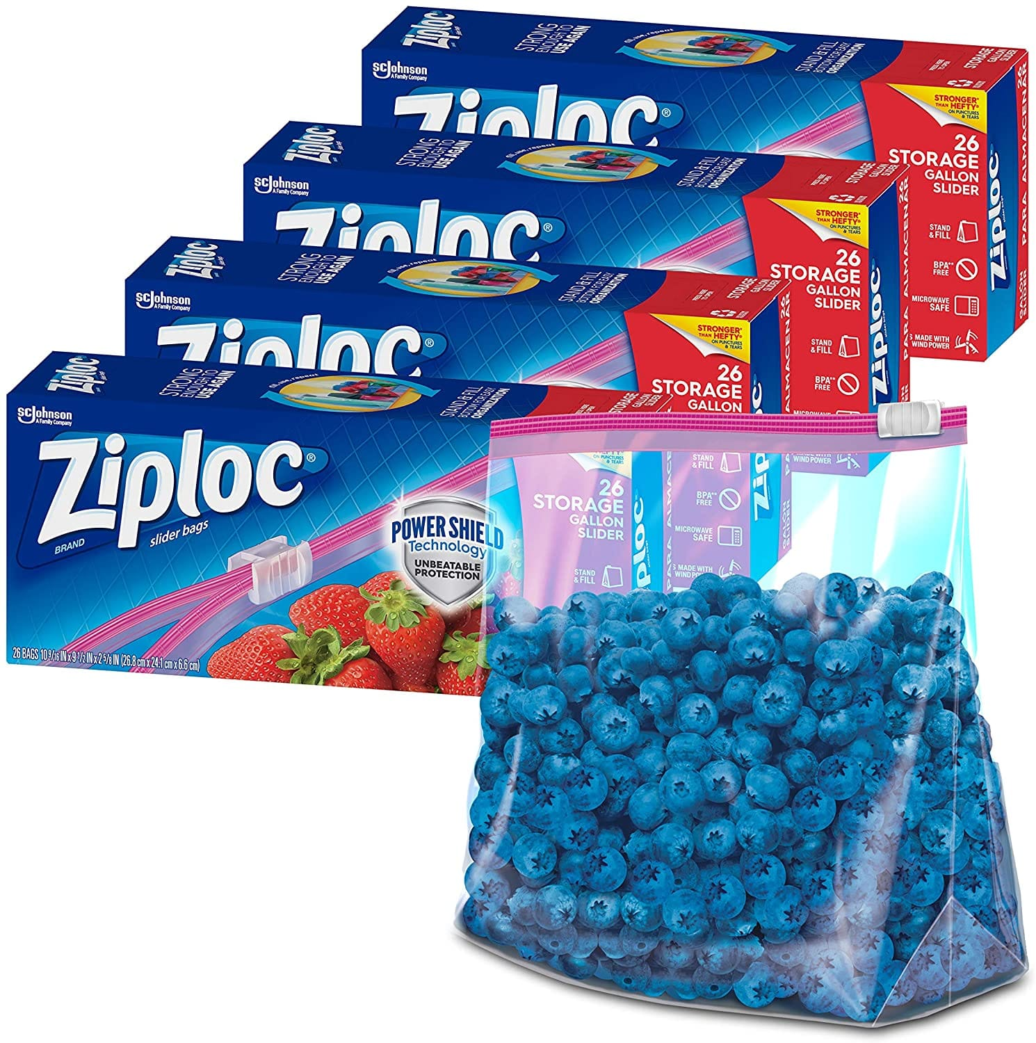 Ziploc Slider Storage Bags with New Power Shield Technology, For Food, Sandwich, Organization and More, Gallon, 26 Count, Pack of 4 (104 Total Bags) $12.49