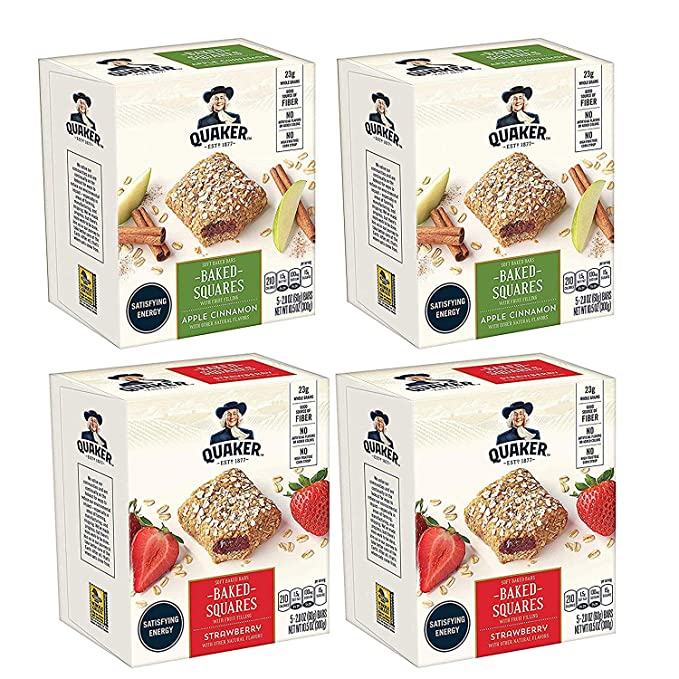 Quaker Baked Squares, Soft Baked Bars, Apple Cinnamon & Strawberry, 5 Bars (Pack of 4) ( Packaging May Vary ) $11.02