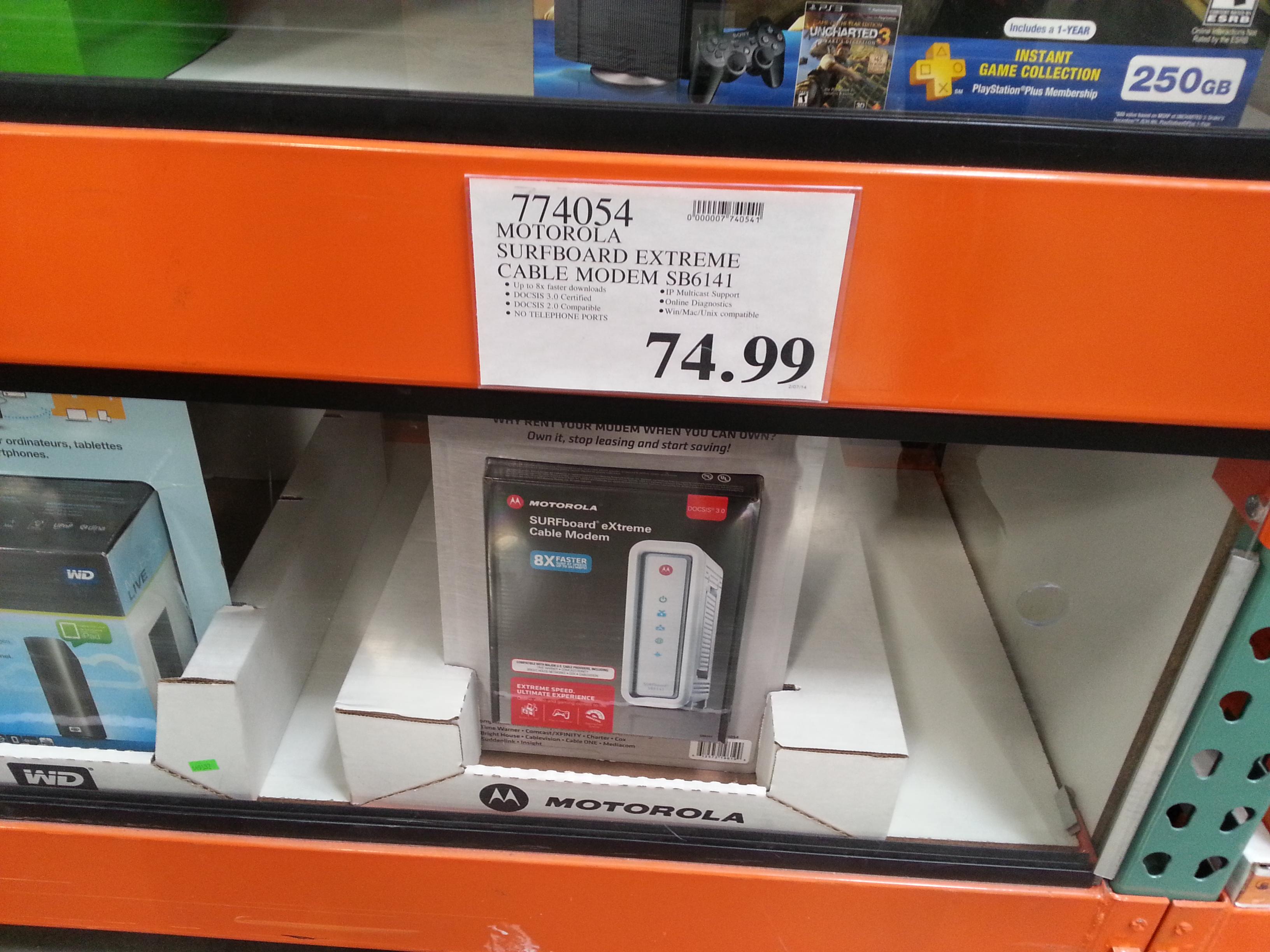 Motorola SB 6141 Surfboard Modem 74.99 + Tax Costco PM at Best Buy