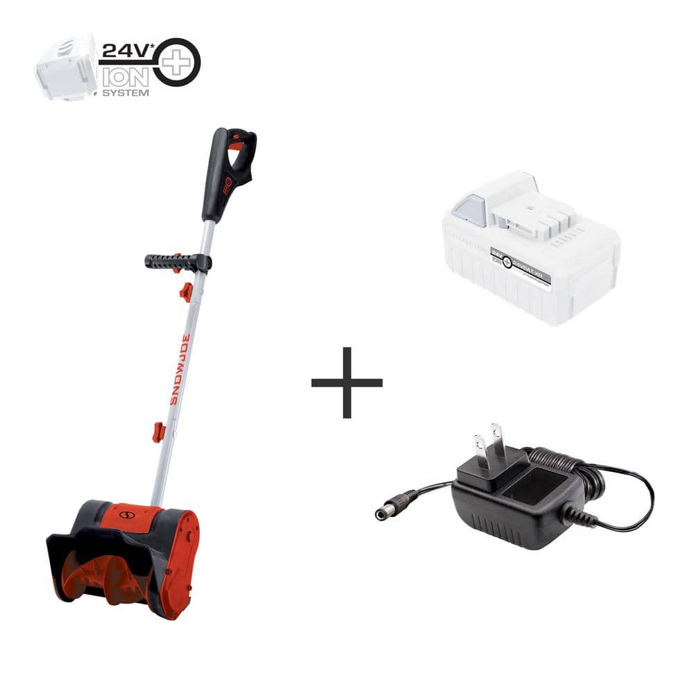 Snow Joe 24V-SS10-XR-RED 24-Volt iON+ Extended Run Time Cordless Snow Shovel Kit |10-Inch | W/ 5.0-Ah Battery and Charger (Red) $59.99